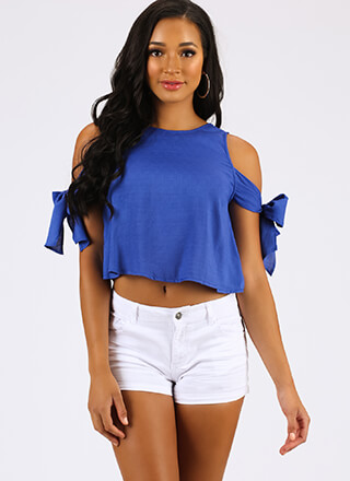 One Beau Two Bows Tied Cold-Shoulder Top