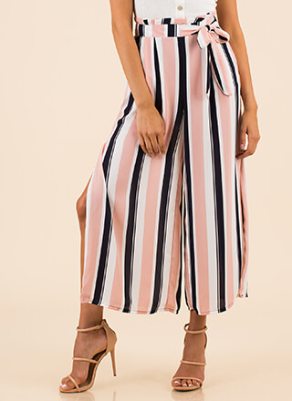 Resort Line Striped Slit Palazzo Pants