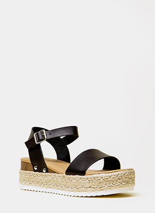 Day Date Faux Leather Platform Sandals
