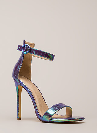 So Ready Holographic Ankle Strap Heels