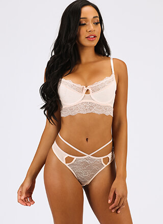 Strappy Birthday Lace Bra And Panty Set