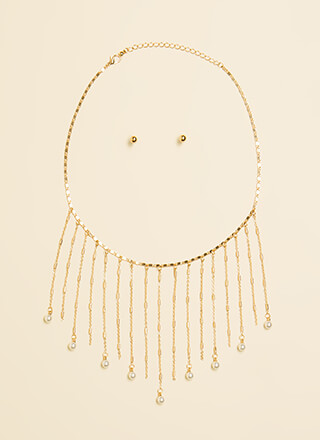 Pearl Dive Fringed Chain Necklace Set