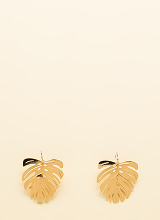 Keep Palm And Carry On Leaf Earrings