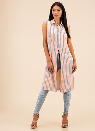 Long Time Striped Button-Up Blouse