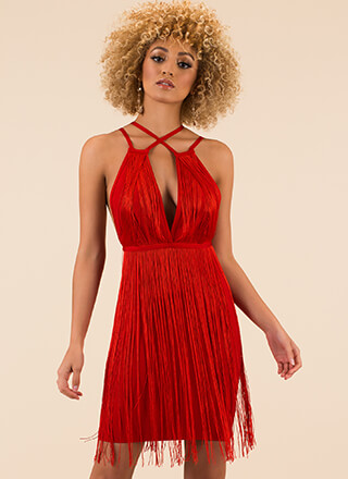 Famous Fringe Strappy Bandage Dress