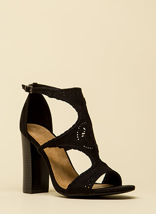 Serious Style Chunky Faux Suede Heels