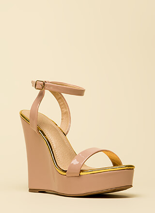 High Style Ankle Strap Platform Wedges