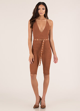 Yes Girl Plunging Belted Rib Knit Romper