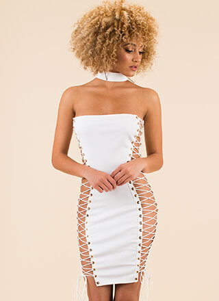 Fleeky Friday Lace-Up Choker Dress