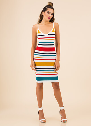 Color Of Success Striped Midi Dress