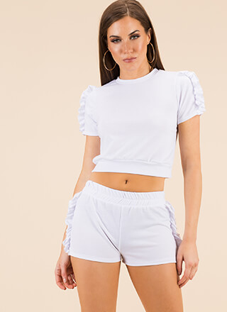 Frill Ride Ruffled Top And Shorts Set