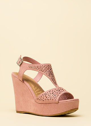 Intricate Plot Cut-Out Platform Wedges
