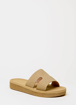 Stepping Up Studded Slide Sandals