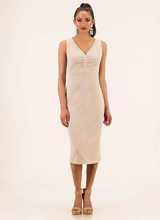 Go All-In Ruched Rib Knit Midi Dress