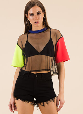 Sheer Style Colorblock Mesh Crop Top