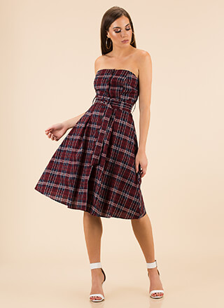 Pretty In Plaid Strapless Flared Dress