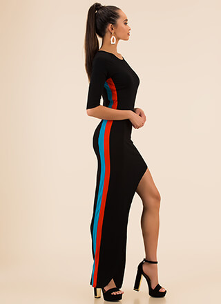 On My Side Striped Asymmetrical Maxi