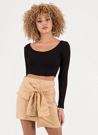 Sleeve An Impression Buttoned Skirt