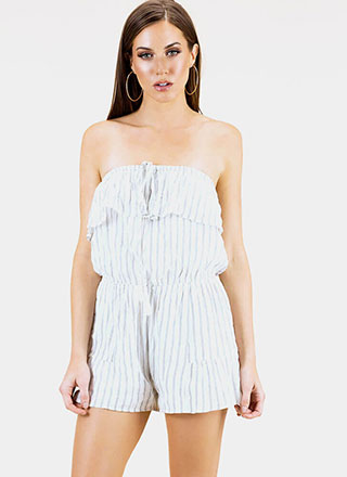One And Gone Strapless Pinstriped Romper