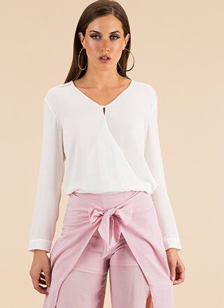 Elegant Addition Surplice Blouse