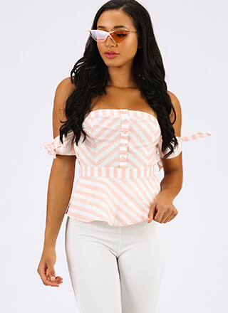 Play Along Striped Off-Shoulder Top
