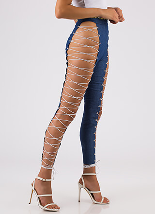 Leg Day Lace-Up Caged Denim Pants