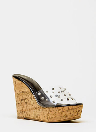 Clearly Perfect Jeweled Mule Wedges