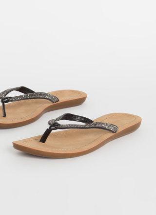 Sun And Sparkle Jeweled Thong Sandals