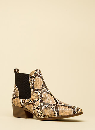 Ready For Anything Faux Snake Booties