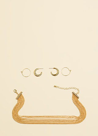 Hoops And Chains Necklace Set