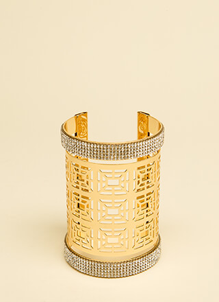 Fancy Fresh Jeweled Cut-Out Cuff
