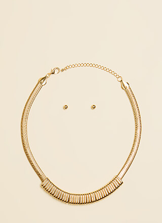 Ring Ring Omega Chain Necklace Set