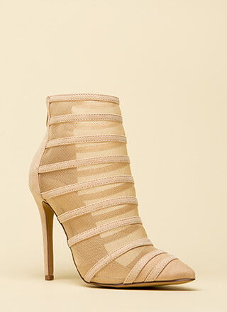 Screen Shot Strappy Mesh Booties