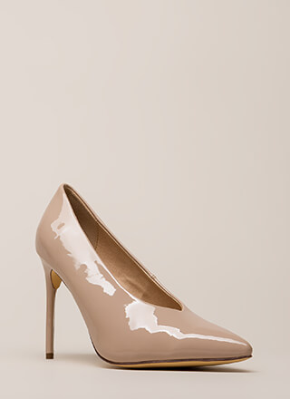 Danger Faux Patent Stiletto Pumps