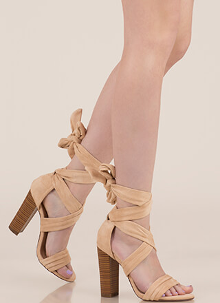 Wrap Royalty Chunky Lace-Up Heels