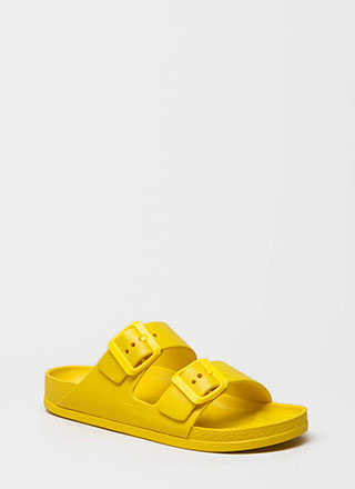 Pool Life Buckled Slide Sandals