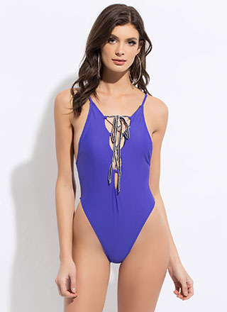 No Strings Attached Lace-Up Swimsuit