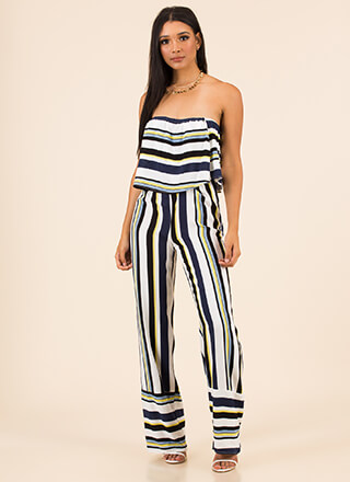 New Line Striped Strapless Jumpsuit