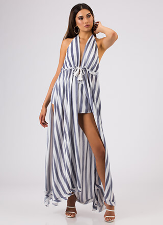 On A Boat Striped Two-Piece Maxi Set