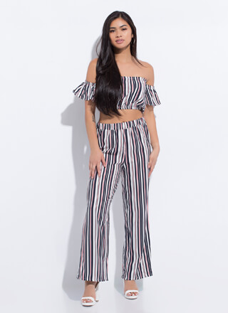 Get Comfortable Striped Top And Pant Set