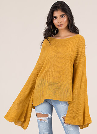 Wing Woman Flared Sleeve Sweater