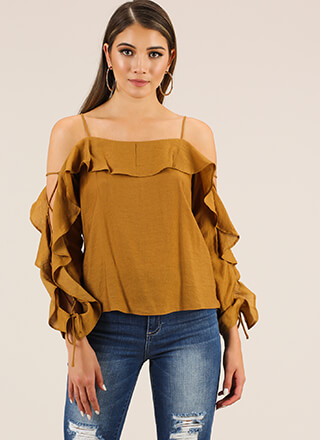 Laced With Ruffles Cold-Shoulder Top