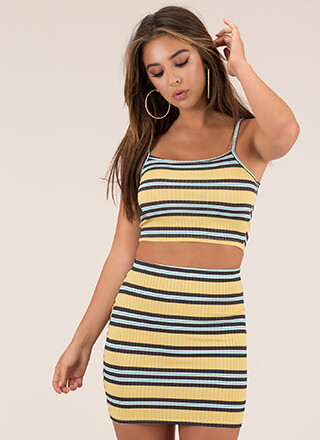 Away We Go Striped Top And Skirt Set