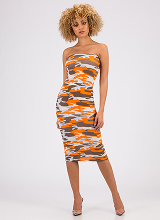 Keep It Camo Strapless Midi Dress