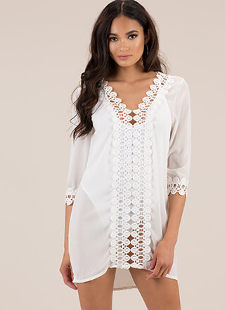 Summer Soiree Cut-Out Crochet Tunic
