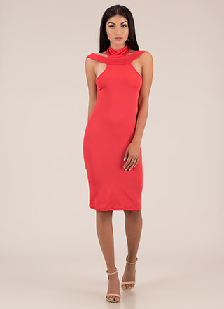 Necks Level Cut-Out Midi Dress
