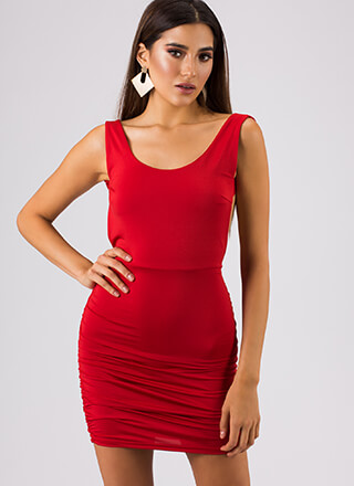 Out In The Open-Back Ruched Minidress