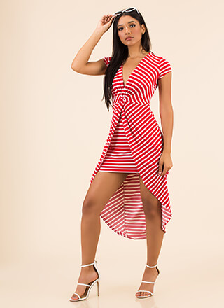 Twist And Shout Striped High-Low Dress