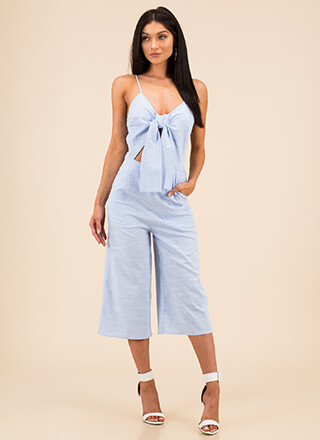 Tied Game Cropped Wide-Leg Jumpsuit