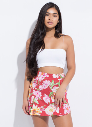 Floral Frolic Pleated Miniskirt